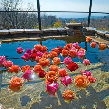 優美なアンティーク家具にうっとり。客室露天風呂のバラ風呂2205722